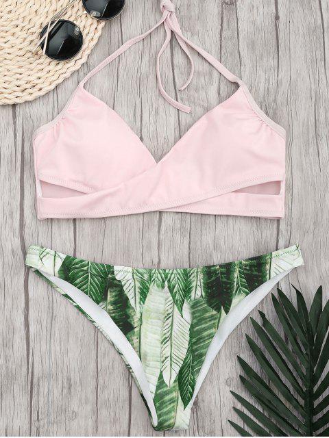 Halter Crossover Palm Leaf Bikini - Pink L Mobile