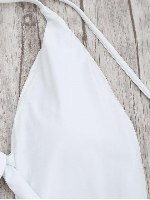 Maillots de Bain Paddé Noué Avant Coupe Haute - Blanc M Mobile