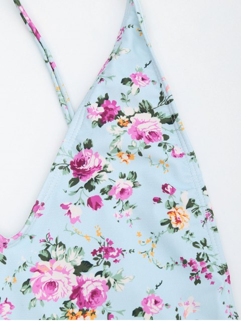 outfit Side Drawstring Tiny Floral Ruched Swimsuit - LIGHT BLUE S Mobile