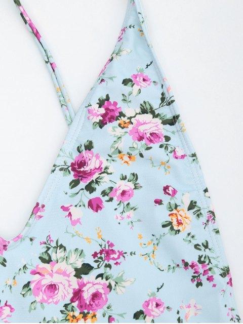 Maillot de Bain à Petites Fleurs  Avec Laçages Latérales - Bleu clair S Mobile