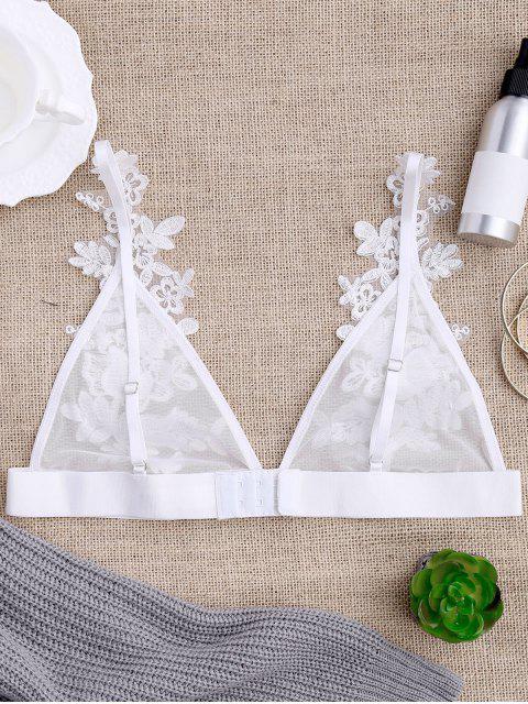 new Sheer Mesh Applique Bralette - WHITE XL Mobile