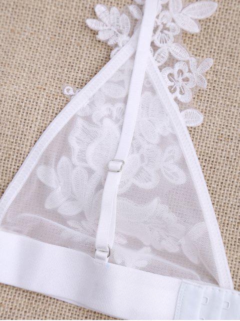 shop Sheer Mesh Applique Bralette - WHITE M Mobile