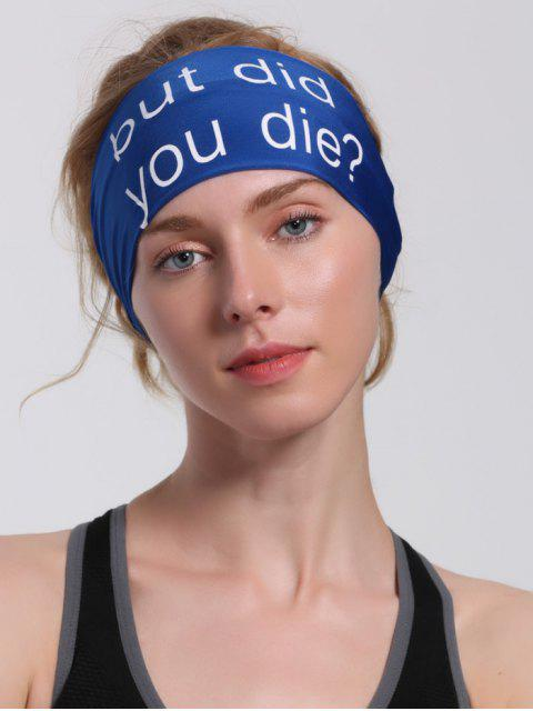 womens Hip Hop Sentence Printed Running Headband - BLUE  Mobile