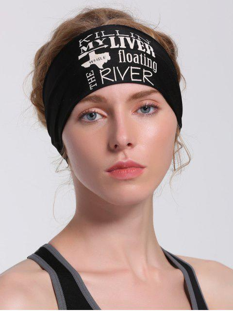 women Letters Pattern Running Hip Hop Headband - BLACK  Mobile