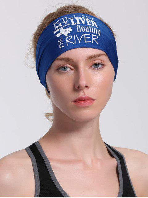 best Letters Pattern Running Hip Hop Headband - BLUE  Mobile