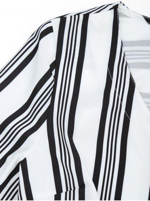 hot Stripes Button Up Blouse - STRIPE M Mobile