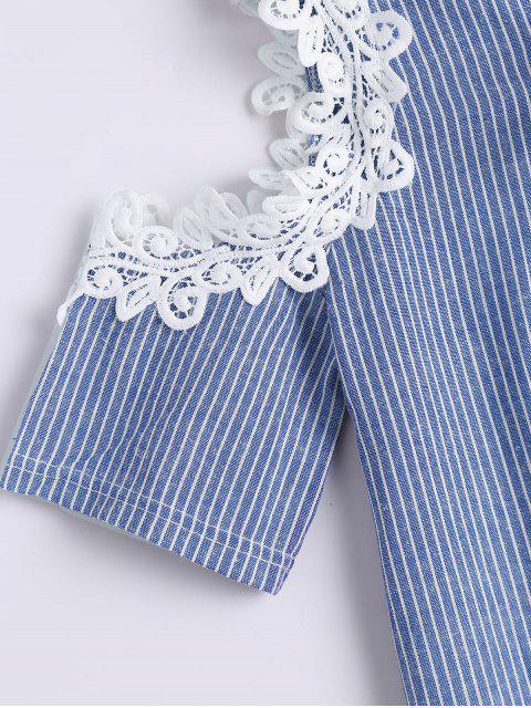shop Lace Up Cold Shoulder Striped Blouse - BLUE ONE SIZE Mobile