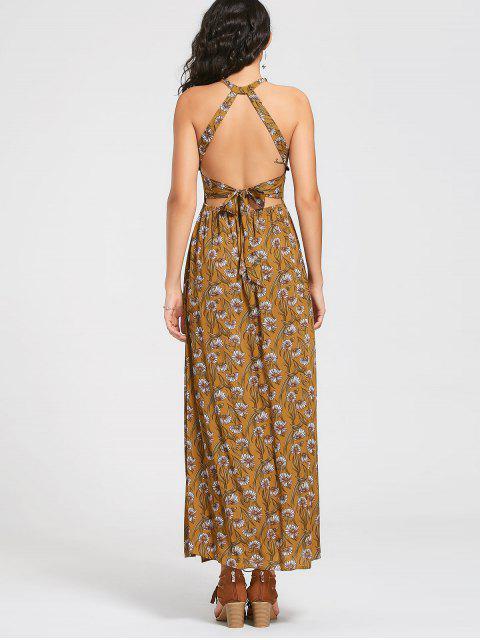 Flower Bowknot Cut Out Maxi Dress - Jaune XL Mobile