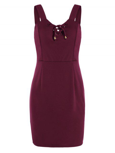 fashion Lace Up Fitted Mini Dress - DEEP RED S Mobile