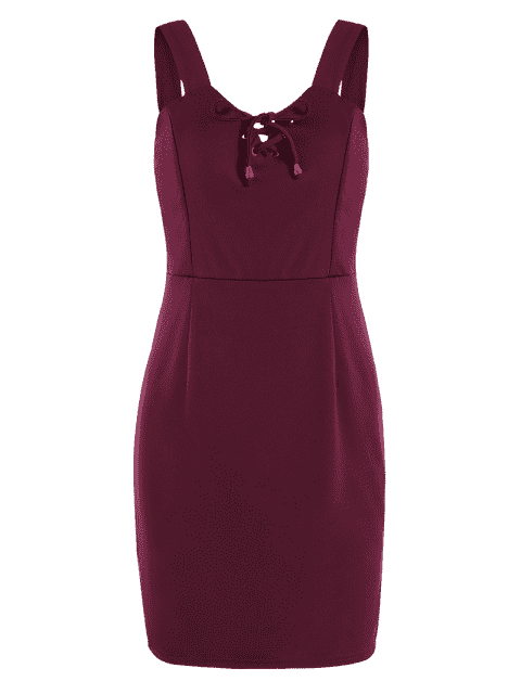 fancy Lace Up Fitted Mini Dress - DEEP RED M Mobile