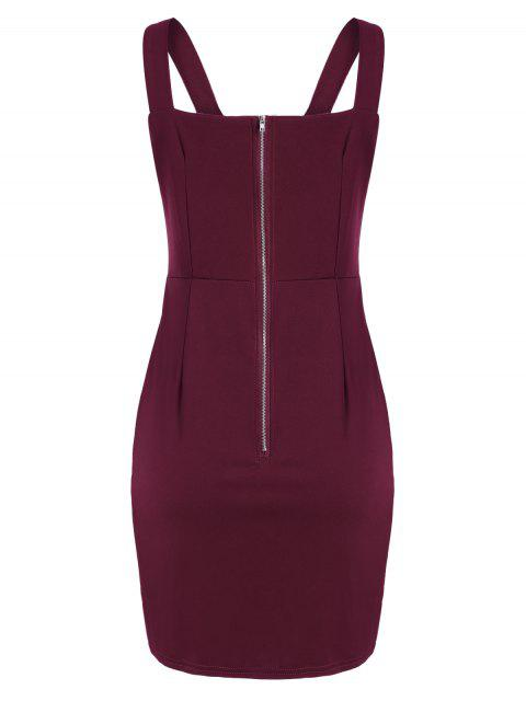 buy Lace Up Fitted Mini Dress - DEEP RED XL Mobile