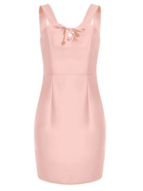 ladies Lace Up Fitted Mini Dress - PINK L Mobile