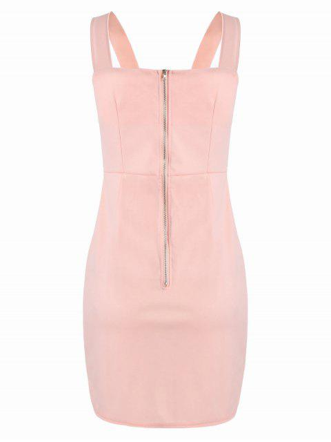 best Lace Up Fitted Mini Dress - PINK M Mobile