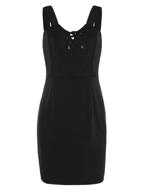 shop Lace Up Fitted Mini Dress - BLACK M Mobile