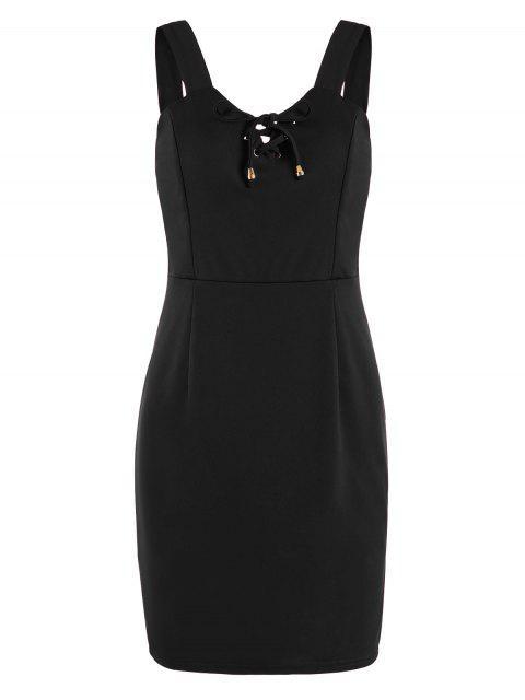 Mini robe à lacets - Noir S Mobile