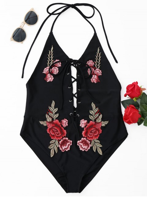 fashion Floral Patch Halterneck One Piece Swimsuit - BLACK S Mobile