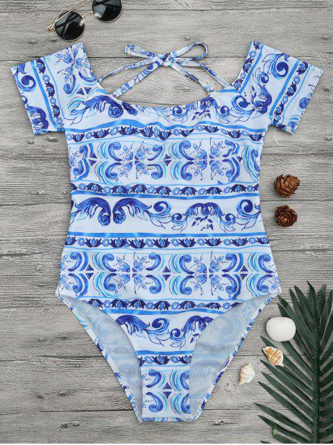 Aus der Schulter Porzellan Print Badeanzug - Blau & Weiß M Mobile