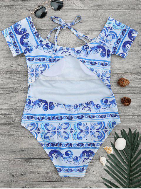 Maillot de bain imprimé en porcelaine épave - Bleu et Blanc S Mobile