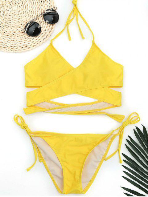 sale Halter Wrap String Bathing Suit - YELLOW L Mobile