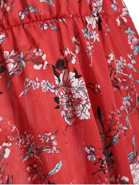 online Off The Shoulder Flare Sleeve Floral Romper - FLORAL S Mobile