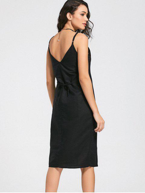 hot Slit Belted Button Up Slip Dress - BLACK M Mobile