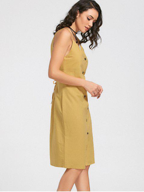 Slit Belted Button Up Slip Dress - Jaune S Mobile