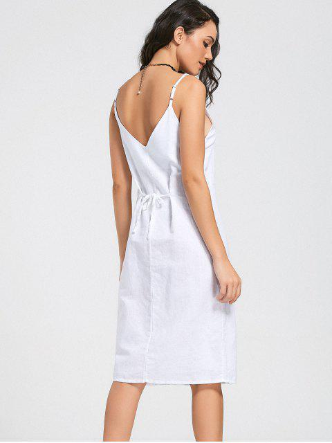 latest Slit Belted Button Up Slip Dress - WHITE S Mobile