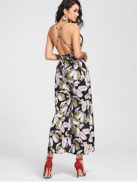 chic High Slit Criss Cross Tropical Jumpsuit - MULTICOLOR L Mobile