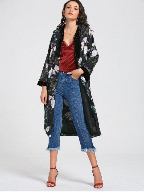 Kimono Crane Floral Duster Coat - Multicouleur S Mobile