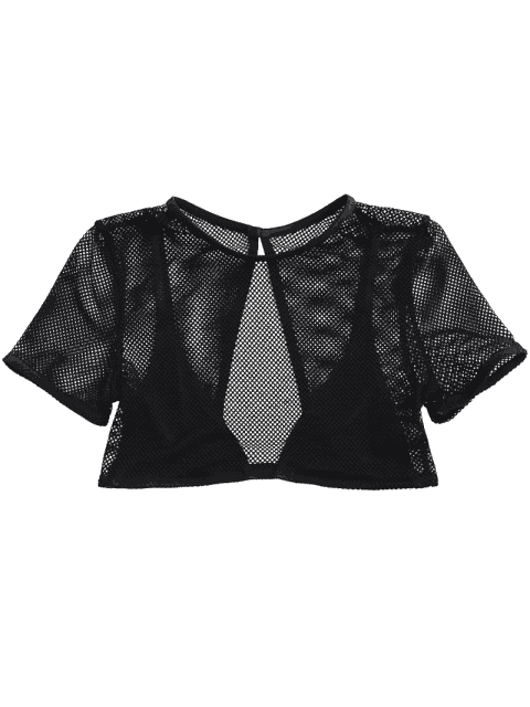 best Back Cut Out Fishnet Bralette Top - BLACK XL Mobile