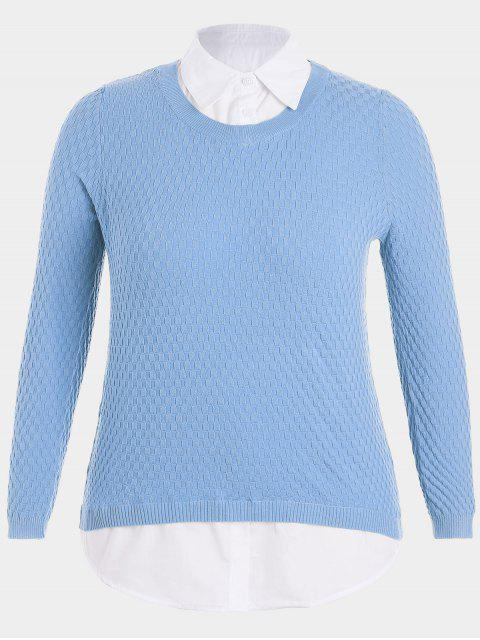 shops Plus Size Pullover Layered Look Sweater - CLOUDY 2XL Mobile