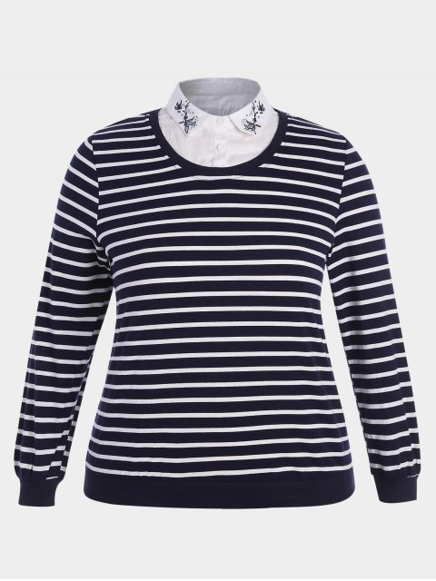latest Embroidered Overlay Plus Size Striped Top - BLUE AND WHITE 4XL Mobile