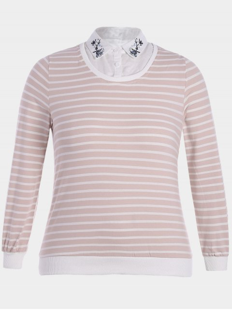 women Embroidered Overlay Plus Size Striped Top - PINK AND WHITE 4XL Mobile