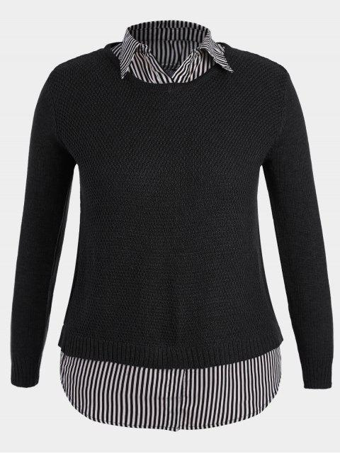 online Pullover Stripe Plus Size Sweater - BLACK 2XL Mobile