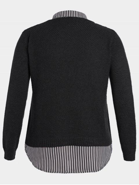 Pullover Stripe Plus Size Sweater - Noir 4XL Mobile