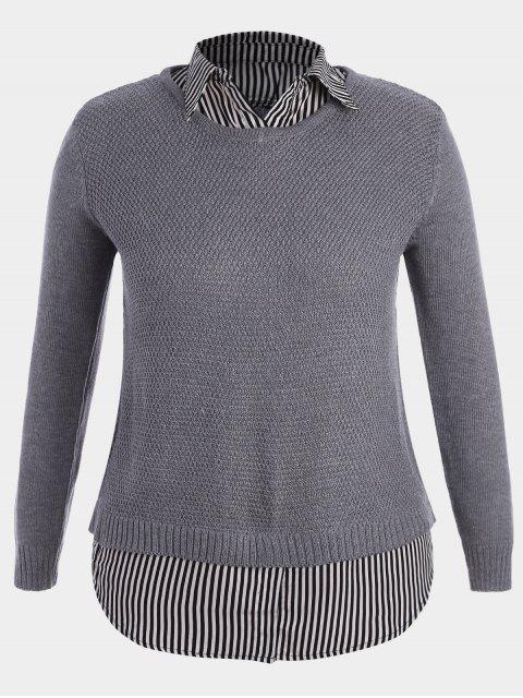 Pullover Stripe Plus Size Sweater - Gris XL Mobile