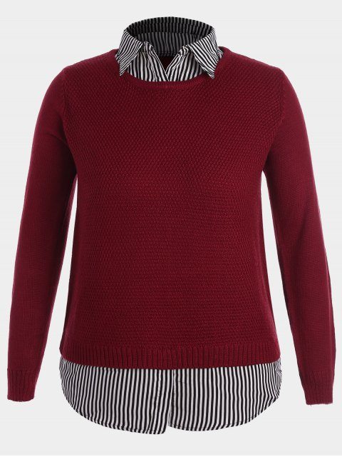 latest Pullover Stripe Plus Size Sweater - RED 4XL Mobile