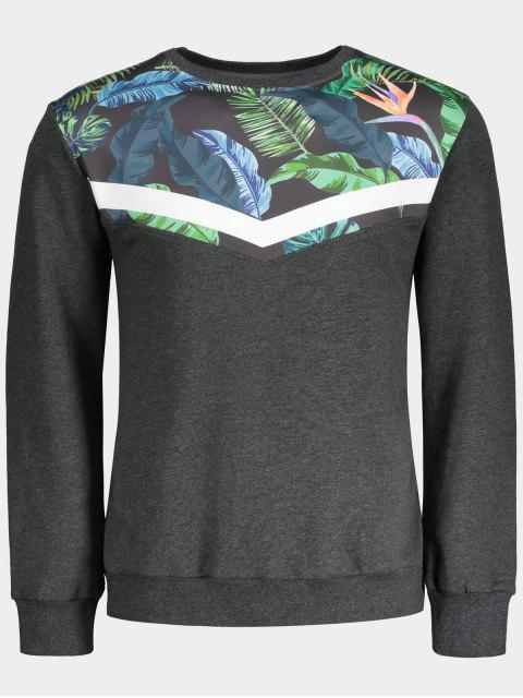affordable Crew Neck Leaves Print Insert Sweatshirt - GRAY L Mobile