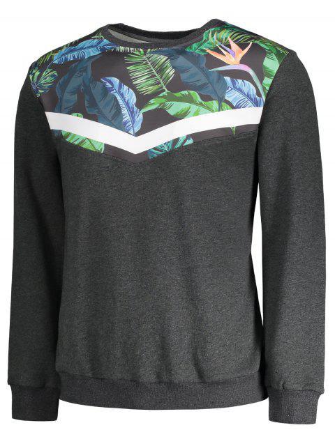 affordable Crew Neck Leaves Print Insert Sweatshirt - GRAY L Mobile