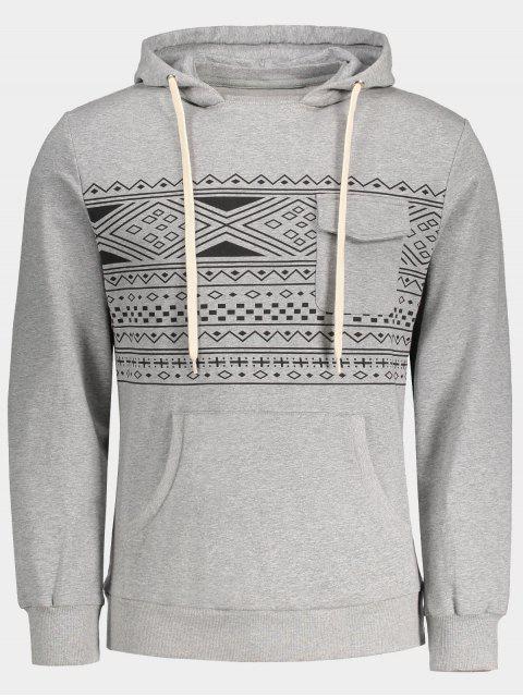 Brusttasche Tribal Print Pullover Hoodie - Grau M Mobile