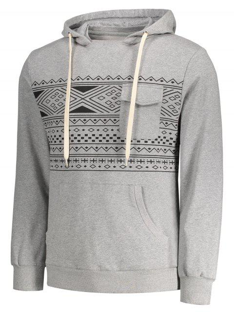 ladies Chest Pocket Tribal Print Pullover Hoodie - GRAY M Mobile