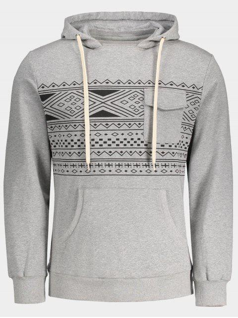 Brusttasche Tribal Print Pullover Hoodie - Grau L Mobile