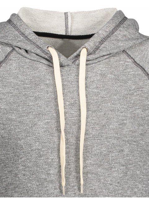 Stripe Hem Raglan Sleeve Hoodie - Gris L Mobile