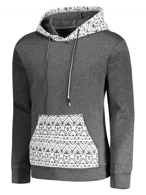 shop Kangaroo Pocket Tribal Print Pullover Hoodie - GRAY XL Mobile