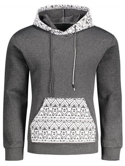 Kangaroo Pocket Tribal Print Pullover Hoodie - Gris XL Mobile