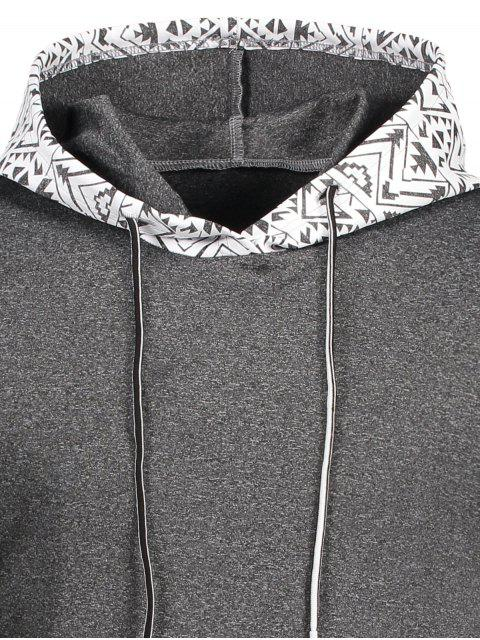 Kangaroo Pocket Tribal Print Pullover Hoodie - Gris XL Mobile
