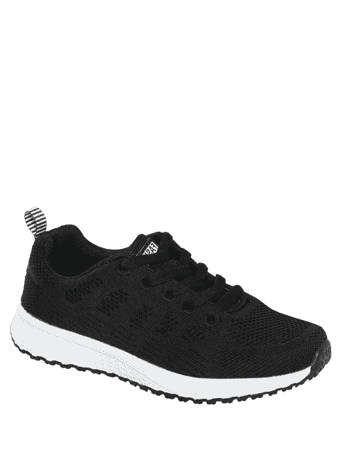 latest Eyelet Embroidery Mesh Breathable Athletic Shoes - BLACK 37 Mobile