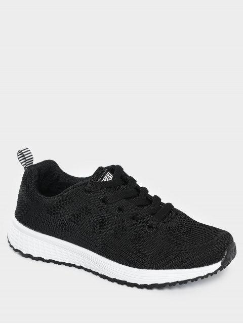 fashion Eyelet Embroidery Mesh Breathable Athletic Shoes - BLACK 38 Mobile