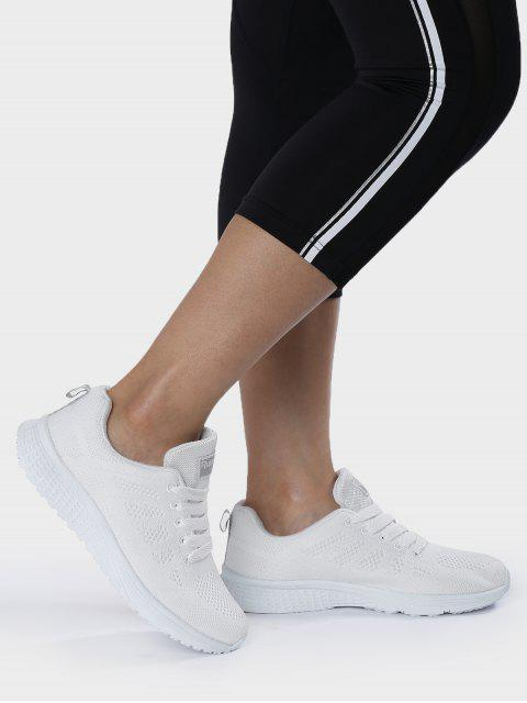 buy Eyelet Embroidery Mesh Breathable Athletic Shoes - WHITE 40 Mobile