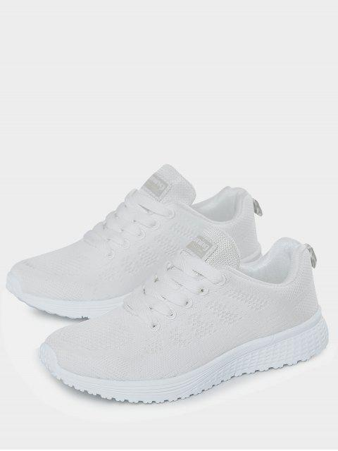 women Eyelet Embroidery Mesh Breathable Athletic Shoes - WHITE 38 Mobile